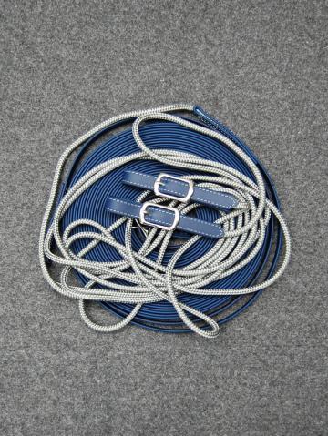 Doppellonge Biothane/ PP Seil marine- silbergrau