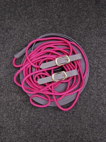 Doppellonge Seil-Biothane magenta-grau