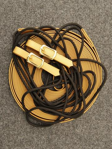 Doppellonge Biothane / PP-Seil in gold- schwarz